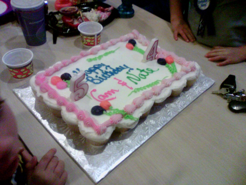 Birthday (cup)cake at Chuck-E-Cheese.