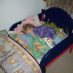 Aly's first night in a big girl bed.